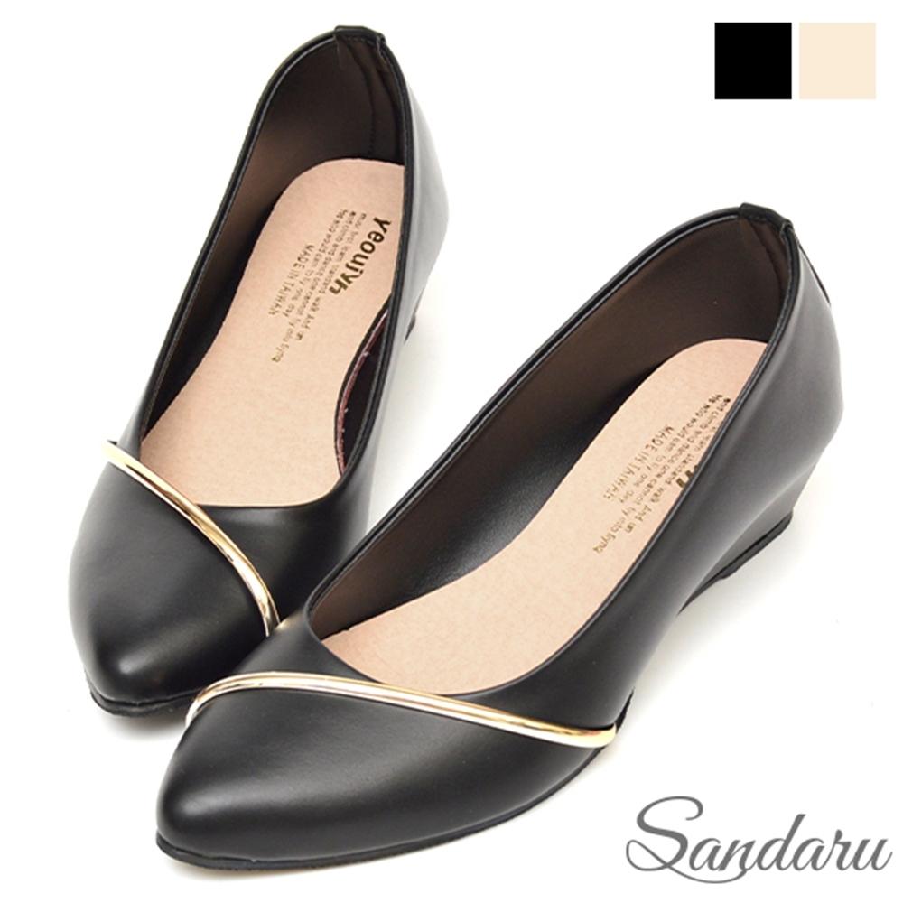 山打努SANDARU-楔型鞋 斜金線皮革尖頭鞋-黑