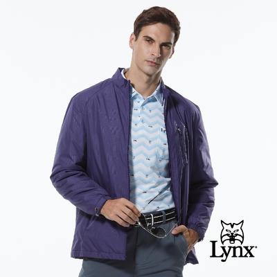 【Lynx Golf】男款薄鋪棉防風保暖暗紋胸袋拉鍊設計長袖外套-靛紫色