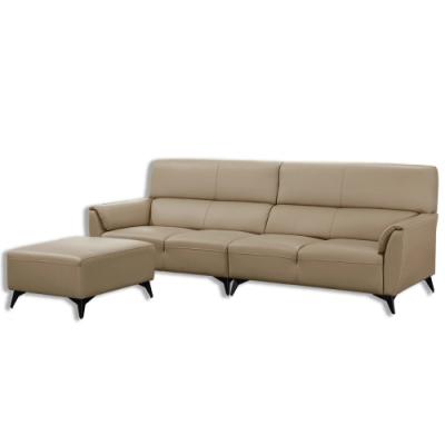 【AT HOME】現代簡約米色半牛皮L型沙發(阿道夫)