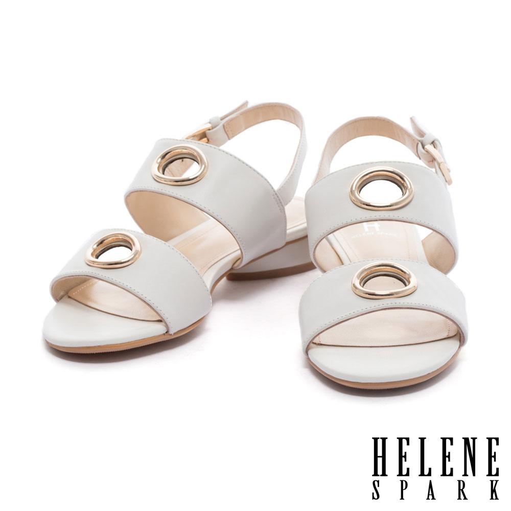 涼鞋 HELENE SPARK 簡約鏤空圓飾雙字帶繫帶羊皮低跟涼鞋-白