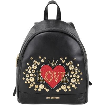 LOVE MOSCHINO 愛心鉚釘裝飾壓紋皮革後背包(黑色)