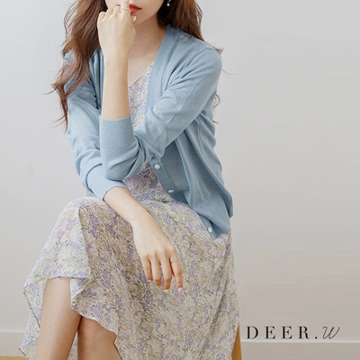 DEER.W V領排釦冰絲針織外套(四色)