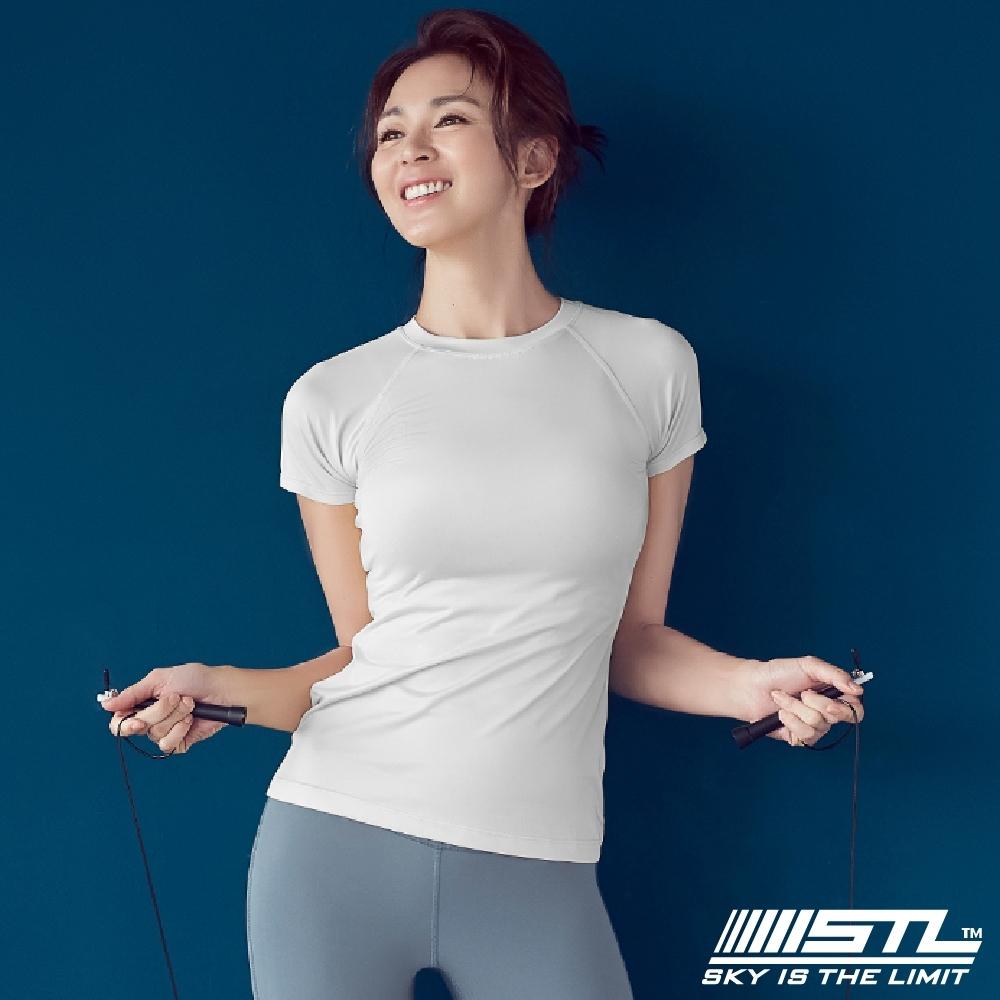 STL yoga Holiday SS 韓國 快速排汗 運動機能 訓練 圓領短袖上衣 短假日白