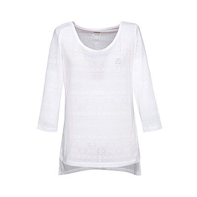FILA女七分袖T恤-白 5TES-5603-WT