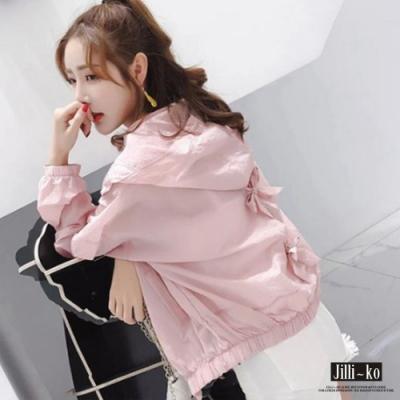 JILLI-KO 蝴蝶結防曬連帽外套- 白/粉