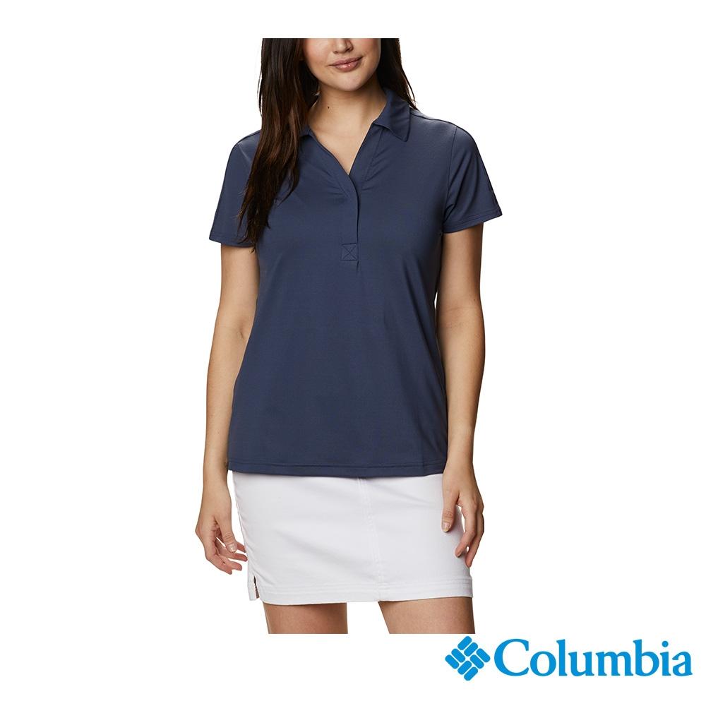 Columbia 哥倫比亞 男女款- UPF50快排短袖Polo衫-6色 活動款 (女款-藍色)