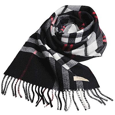 BURBERRY 經典格紋配蘇格蘭格紋美麗諾羊毛圍巾(黑格紋/ 168 x 30 )