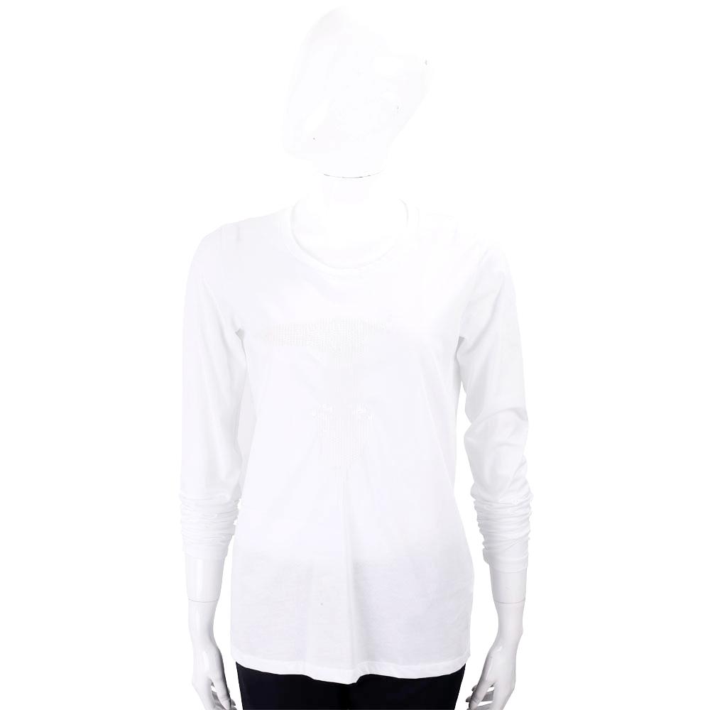 TRUSSARDI T亮片字母白色棉質T恤