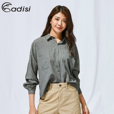 ADISI 女長袖落肩休閒麻感超透氣襯衫AL1911042
