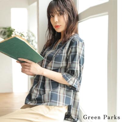 Green Parks 荷葉邊袖口格紋襯衫上衣
