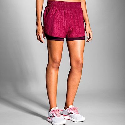 BROOKS女Circuit 環行二合一運動3吋短褲 胭脂紅(221257514)