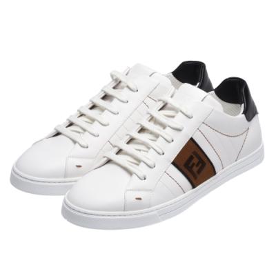 FENDI 經典FF LOGO小牛皮休閒鞋(白X咖啡)