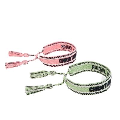 DIOR 新色Dior Oblique字母圖案純棉編織手環 (2副1組)(草綠/粉橘)