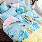 La Lune 台灣製100%40支精梳純棉雙人加大床包枕套三件組 仙人掌冰沙