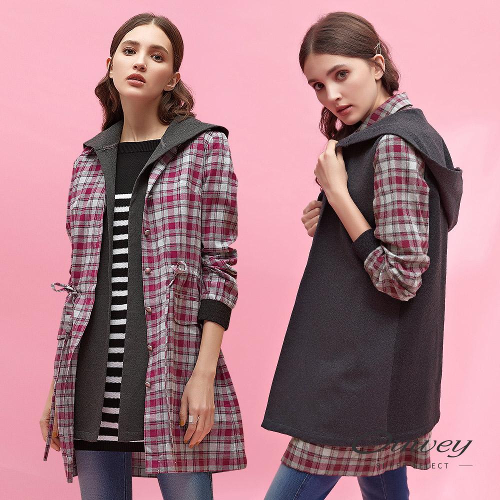 OUWEY歐薇 兩穿式刷毛格紋長版外套(桃) @ Y!購物