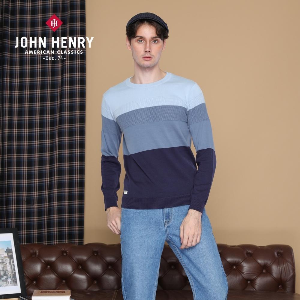 【JOHN HENRY】簡約漸層條紋針織衫-藍