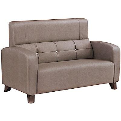 文創集 波登現代耐磨亞麻布紋皮革二人座沙發椅-127x79x95cm免組
