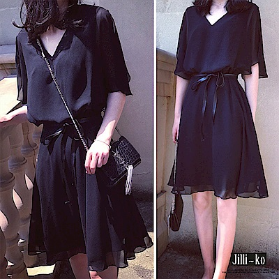 Jilli-ko 皮質腰帶層次雪紡連身裙- 黑
