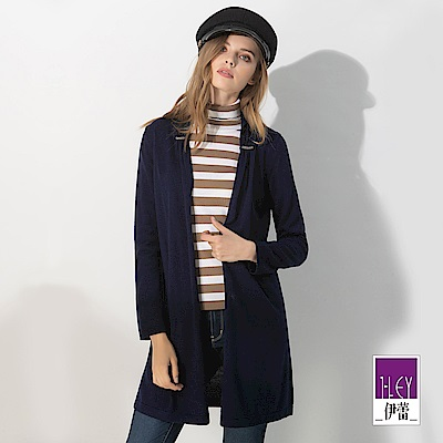 ILEY伊蕾 抓摺造型開襟長版針織外套(藍)