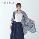【MOSS CLUB】男友風條紋長版-襯衫(二色)
