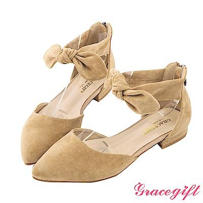 Grace gift-蝴蝶結繫帶後拉鍊低跟鞋 深杏