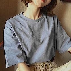 Lockers 木櫃 經典簡約風純色棉麻T恤