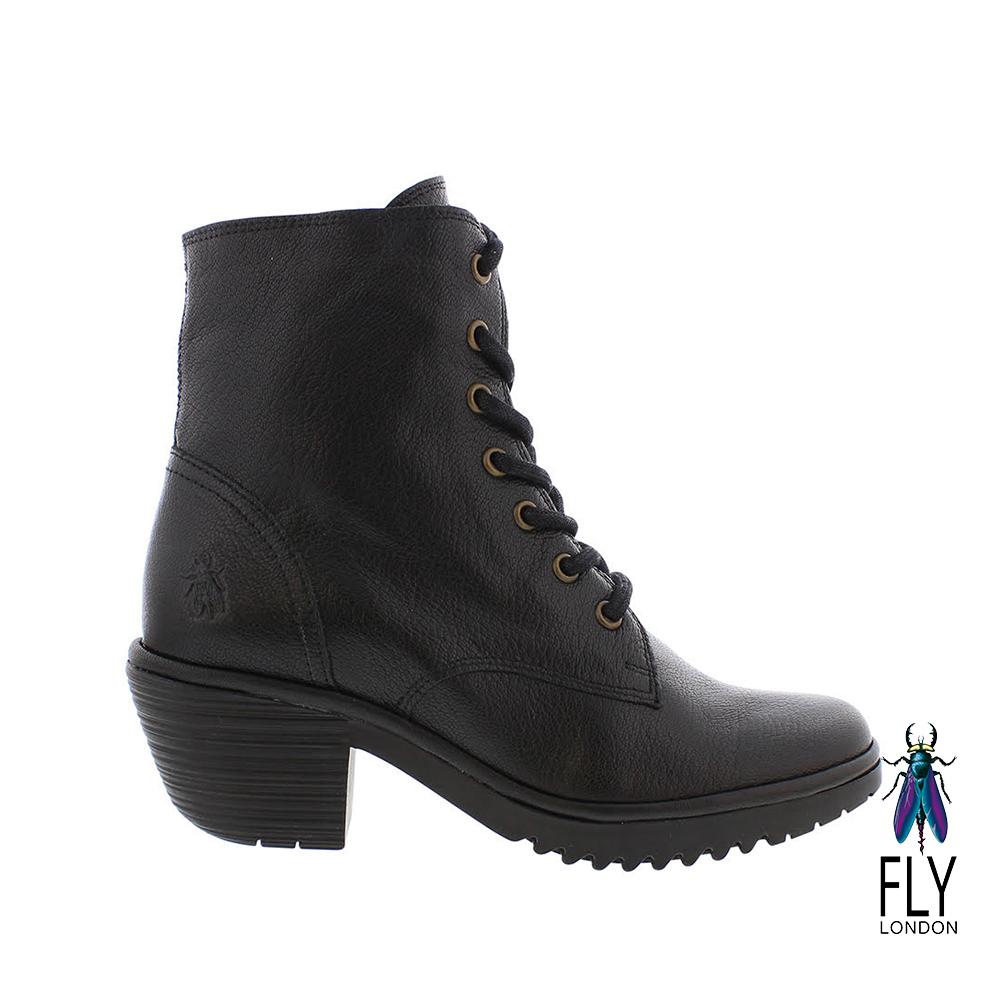 Fly London(女) 吉普賽的足跡 粗跟綁帶牛皮短靴- 入幕黑