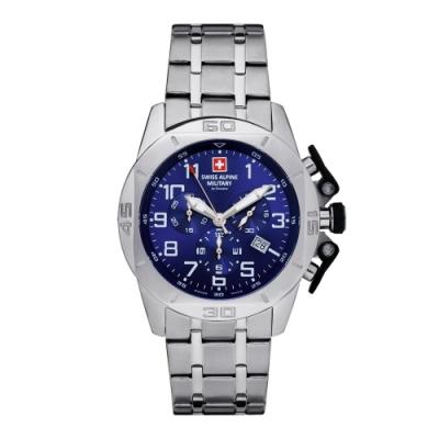 瑞士阿爾卑斯軍錶S.A.M 龍捲風系列-不鏽鋼鍊帶/三眼計時/藍色錶盤/45mm