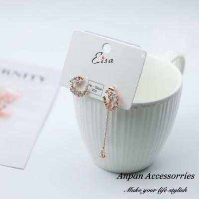 【ANPAN愛扮】韓東大門嬌豔花朵微鑲鑽不對稱925銀針耳釘式耳環