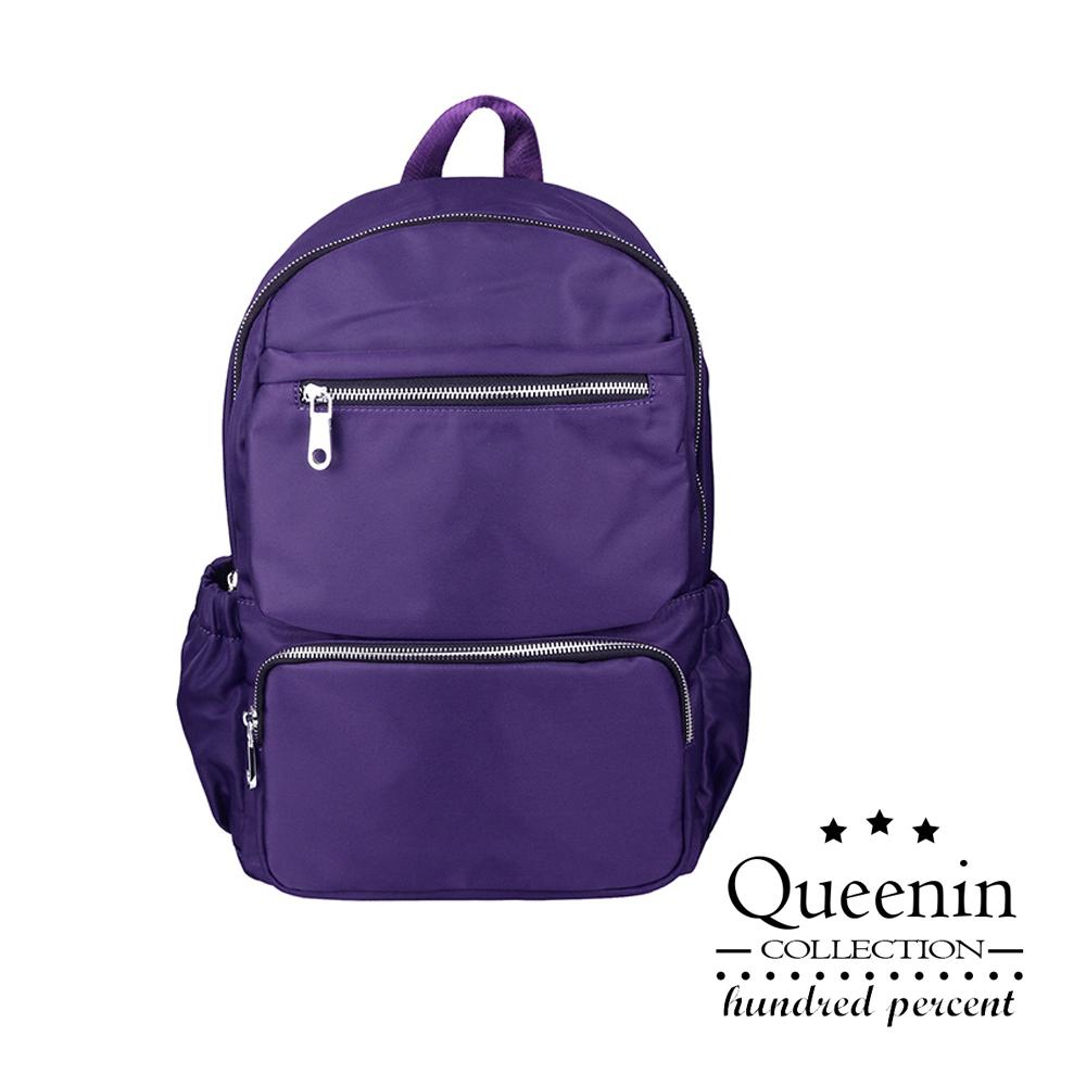 DF Queenin日韓 - 嚴選優質感個性雙肩後背包-紫色