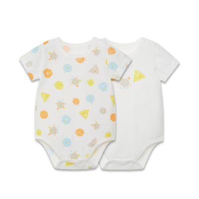 【麗嬰房】Cloudy雲柔系列 嬰兒童趣純棉短袖包屁衣兩件裝 (66cm~81cm)