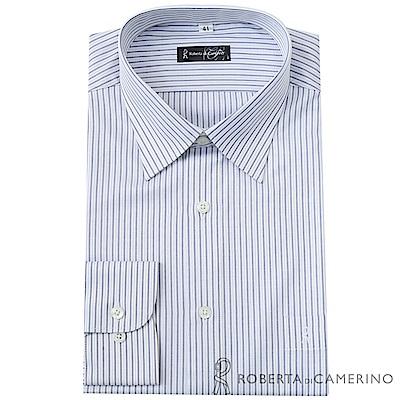 ROBERTA諾貝達 台灣製 合身版 商務紳士 條紋長袖襯衫  灰白