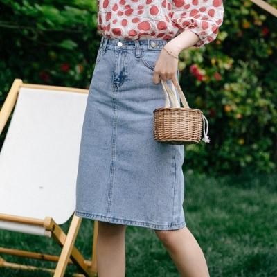 復古開衩裙襬3D立體設計修身牛仔裙S-XL-WHATDAY