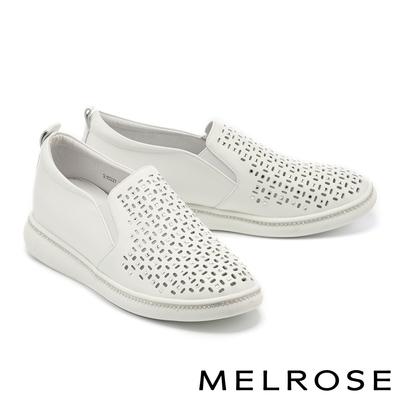 休閒鞋 MELROSE 率性沖孔晶鑽全真皮厚底休閒鞋-白