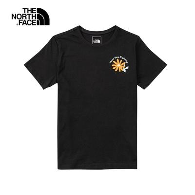 The North Face北面女款黑色胸前花朵印花短袖T恤|5B3XJK3