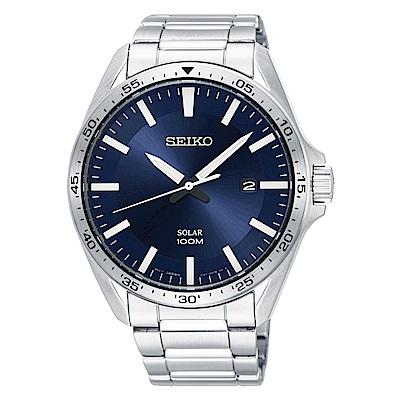 SEIKO 精工Solar太陽能時尚手錶SNE483P1藍X銀/42mm