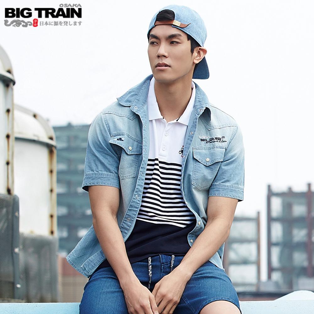 BigTrain薄牛仔襯衫-男-淺藍