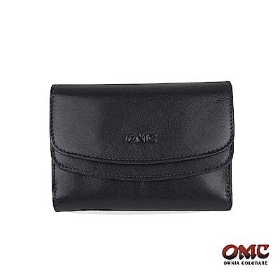 OMC 原皮系列-植鞣牛皮雙壓扣11卡透明窗零錢中夾-黑色