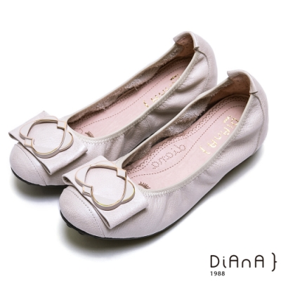 DIANA 心型交織氣質甜美真皮娃娃鞋-漫步在雲端厚切焦糖美人-米