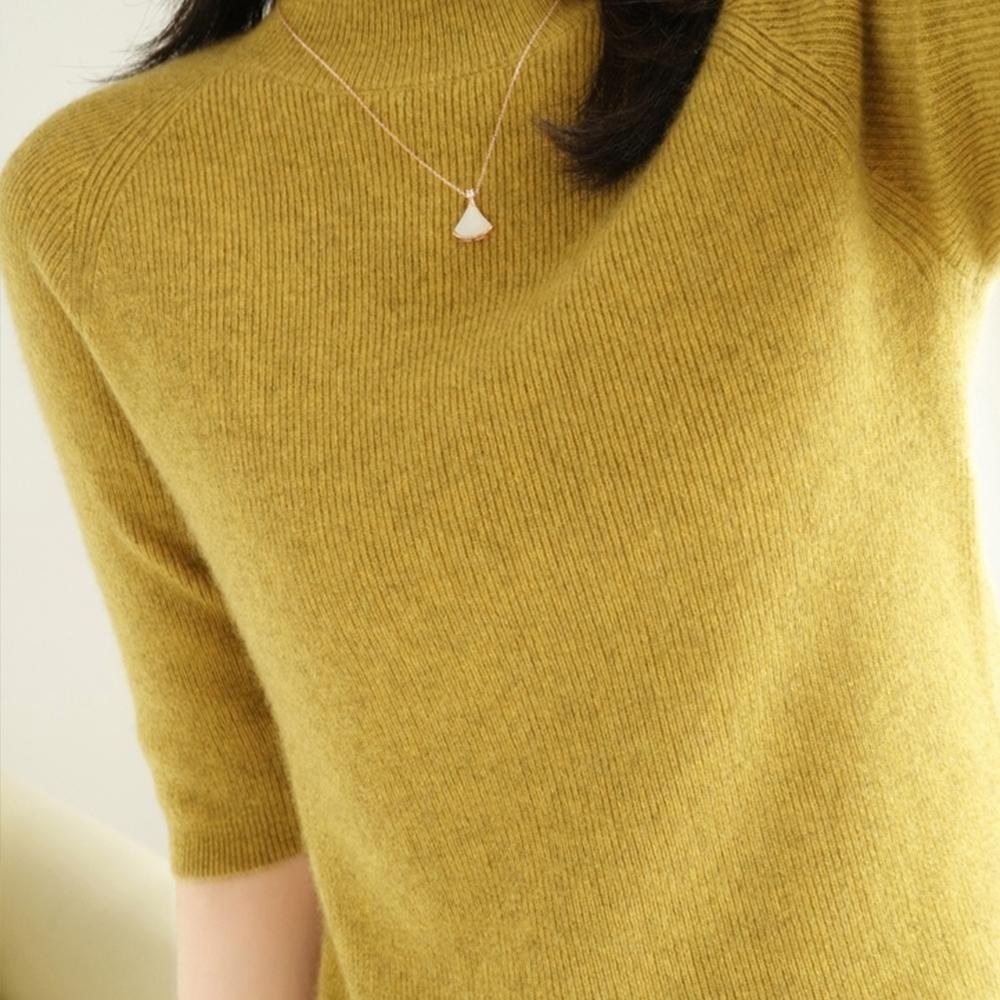 初色  半高領純色針織衫-共4色-(M-2XL可選)