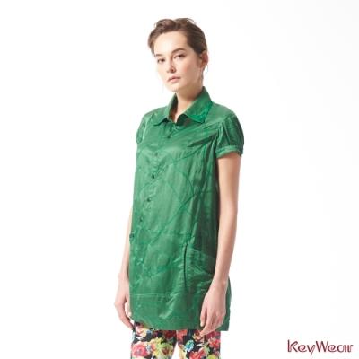 KeyWear奇威名品    優雅圖騰貴氣絲棉洋裝-綠色