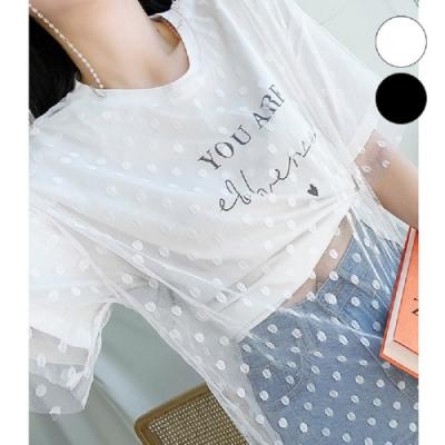 T恤 假兩件印花網紗短袖T恤RW8820-創翊韓都