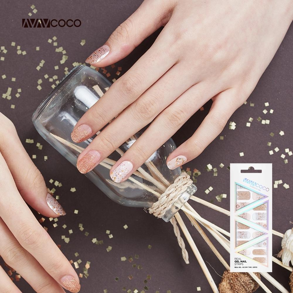 VAVACOCO 光感凝膠光療美甲貼片-璀璨流金20片