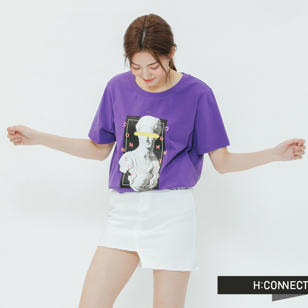 H:CONNECT 韓國品牌 女裝-彩圖人像圓領T-shirt-紫