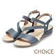 CHOiCE 細緻牛皮斜帶造型厚底涼鞋 藍色 product thumbnail 1