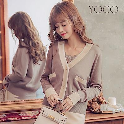 東京著衣-yoco 法式女孩配色排釦針織外套-S.M.L(共一色)