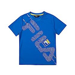 FILA KIDS 童吸濕排汗短袖上衣-寶藍 1TET-4903-AB
