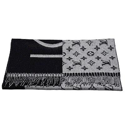 LV M70924經典Monogram Split City字母織花羊絨雙面圍巾(黑X灰)