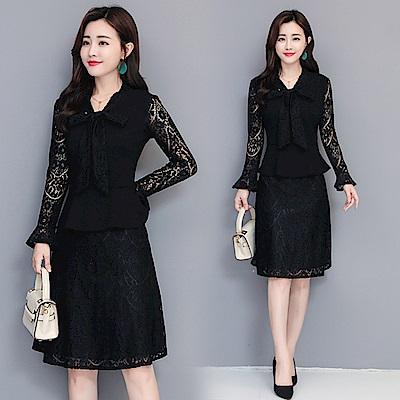 黑色鏤空蕾絲蝴蝶結優雅洋裝M~3XL-REKO