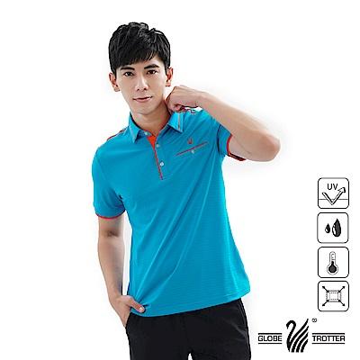 【遊遍天下】男款吸濕排汗抗UV機能POLO衫GS1039藍桔